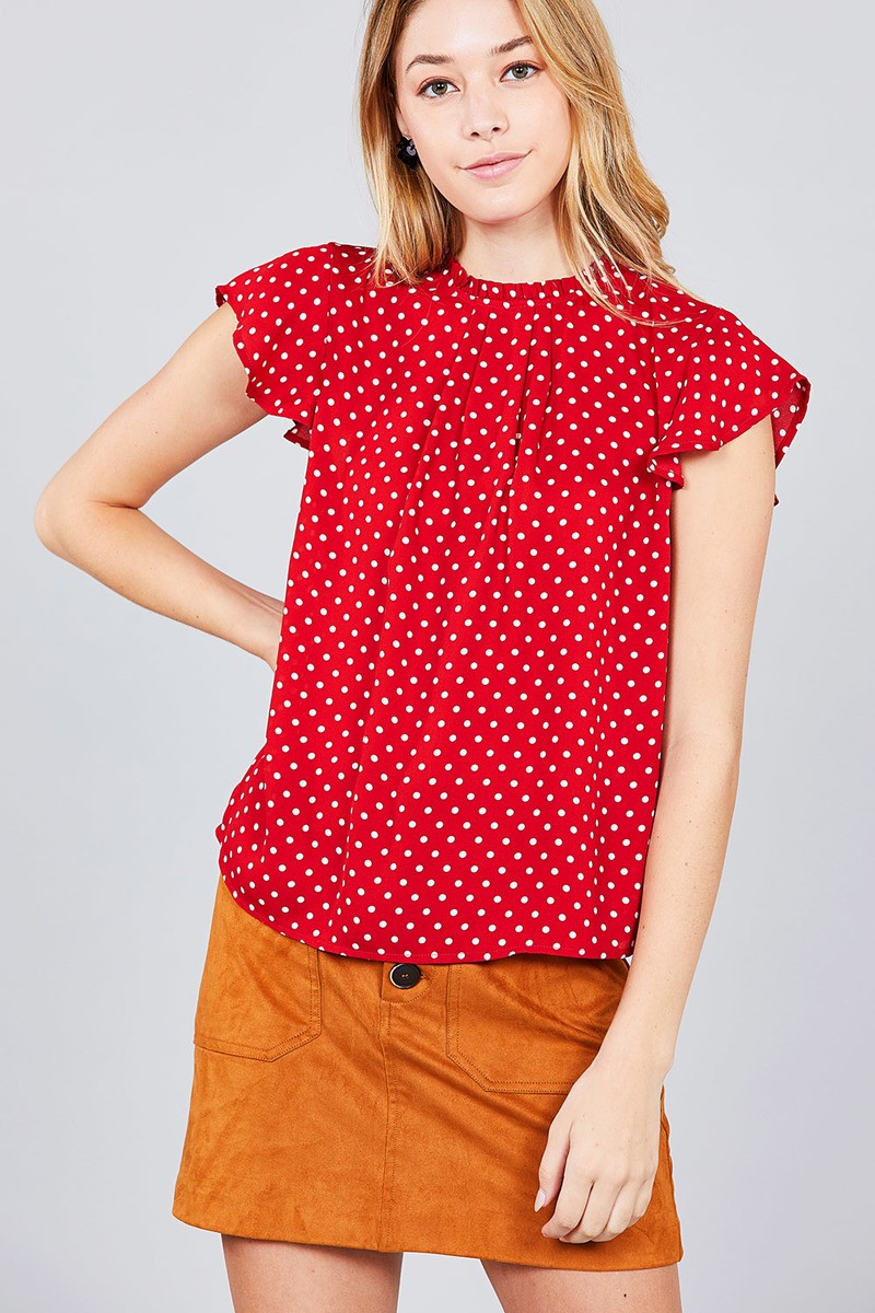 Short Sleeve Ruffle Neck Back Button Dot Print Woven Top