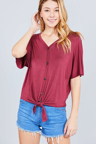 Short Sleeve Round Neck Button Down Stripe Rayon Poly Spandex Rib Top
