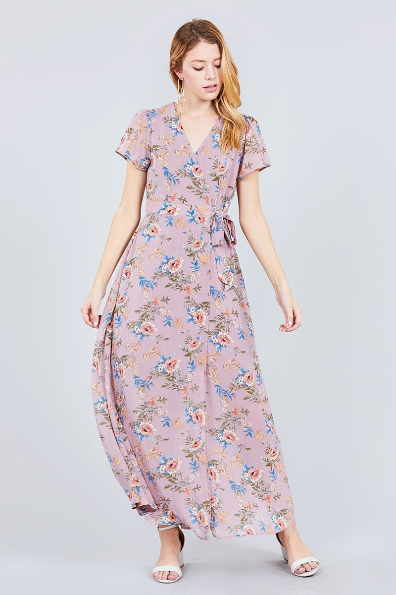 Short Sleeve V-neck Wrapped W/bow Tie Floral Print Maxi Dress