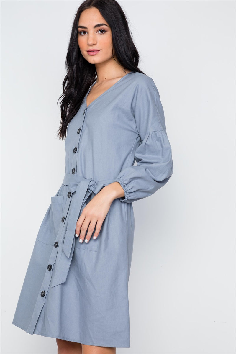 Button Down Solid Boho Self Tie Dress