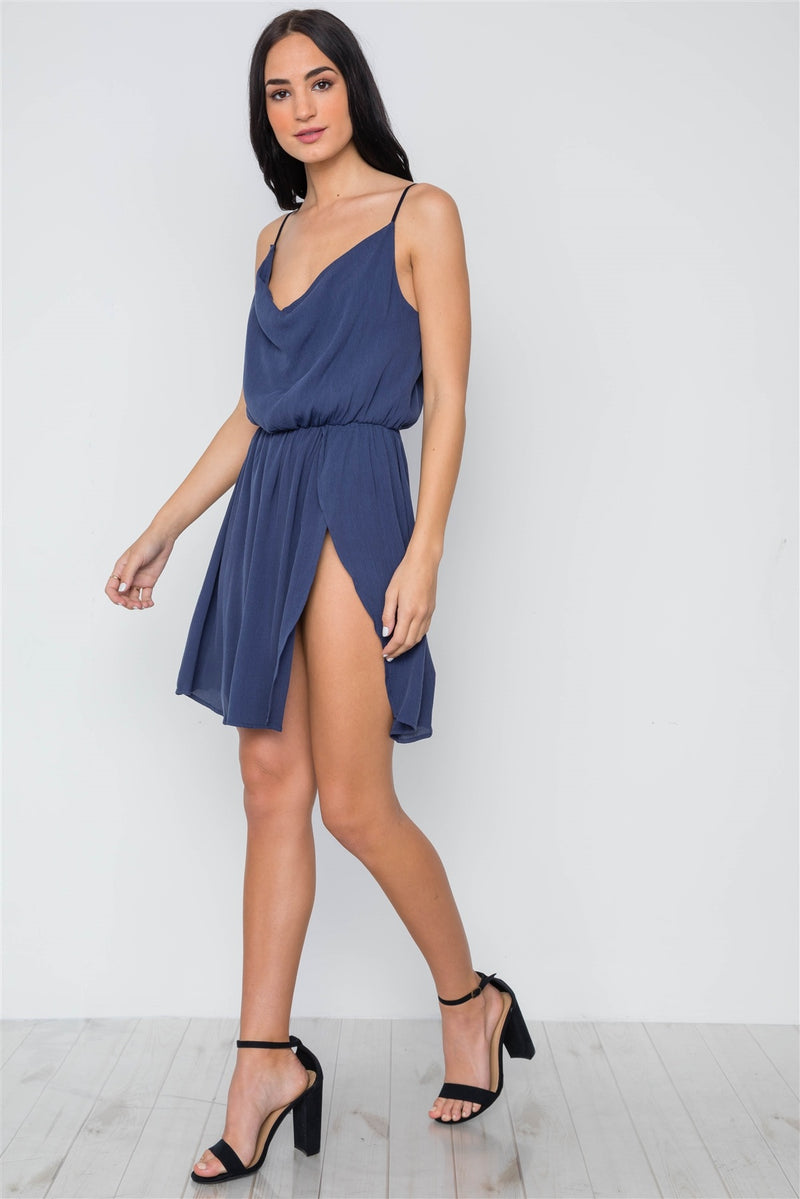 Navy Solid Cami Cowl Neck Side Slit Mini Dress