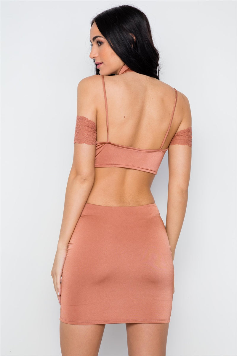 Mauve Lace Sexy Cut Out Back Mini Dress