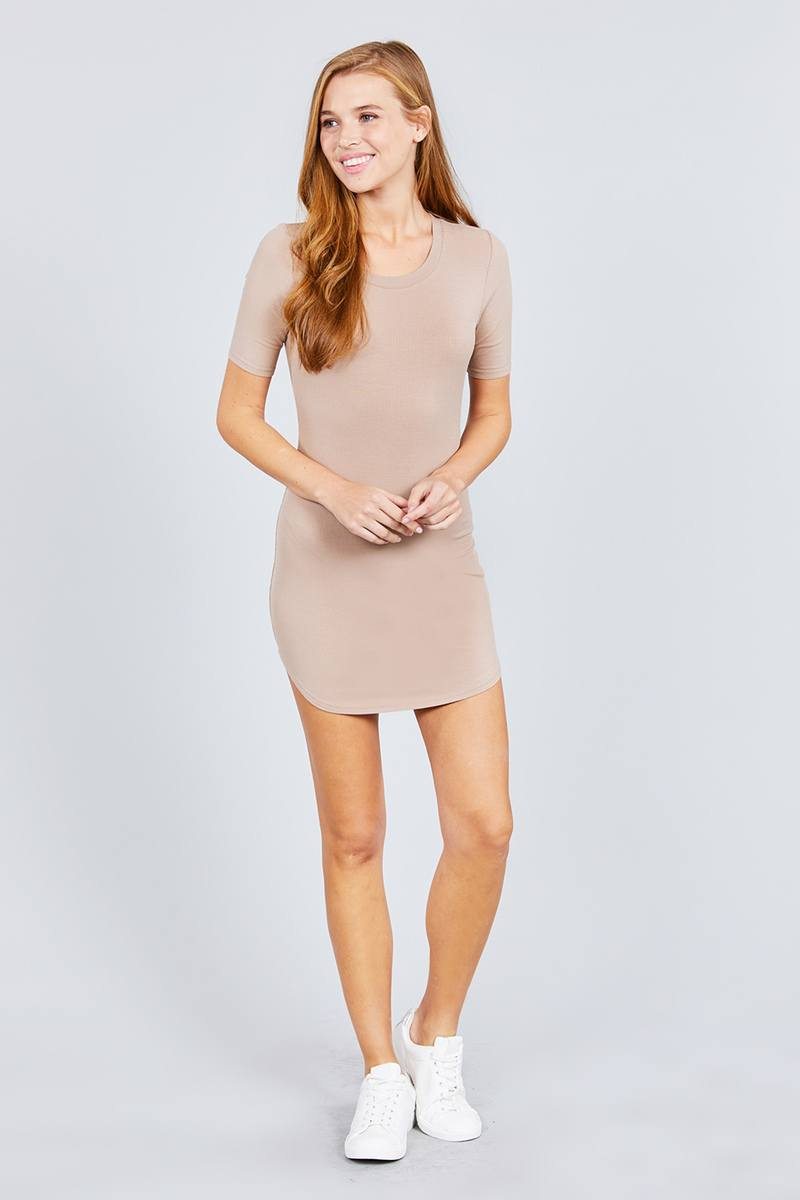 Short Sleeve Round Neck Rayon Spandex Rib Mini Dress