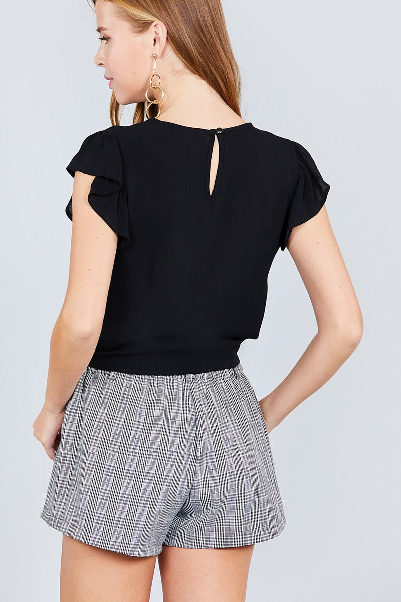 Ruffle Short Sleeve Front Tie Crinkle Gauze Woven Top