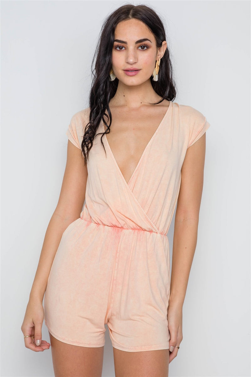 Light Peach Plunging Neckline Romper