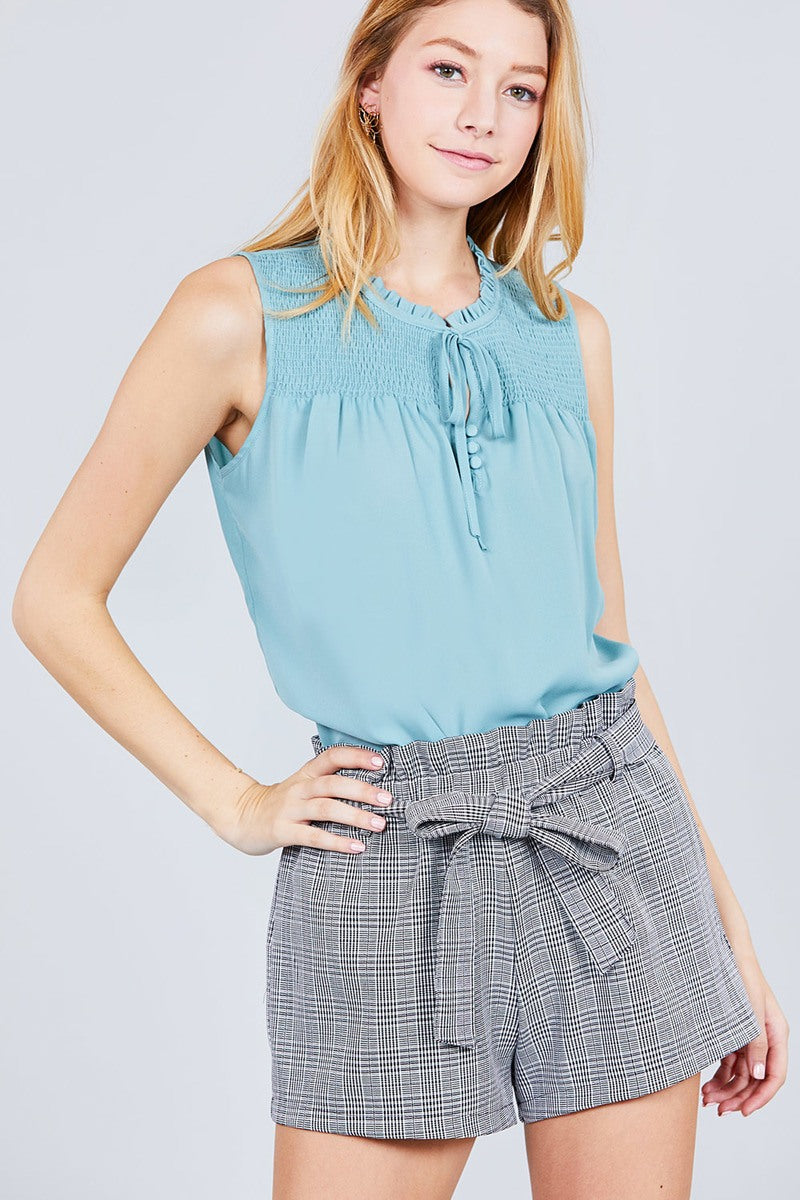 Sleeveless Ruffle Neck W/self Tie Smocked Yoke Detail Front Button Woven Top