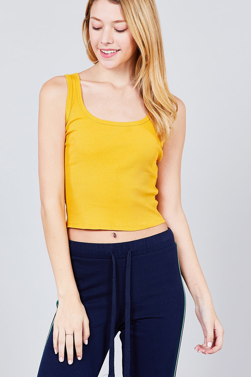 Double Scoop Neck Rib Tank Top