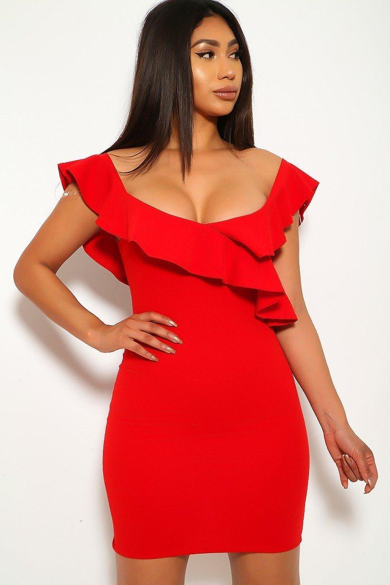 Solid, Ruffled Detail, Sleeveless, Round Neckline, Back Slit, And Stretchy Dress