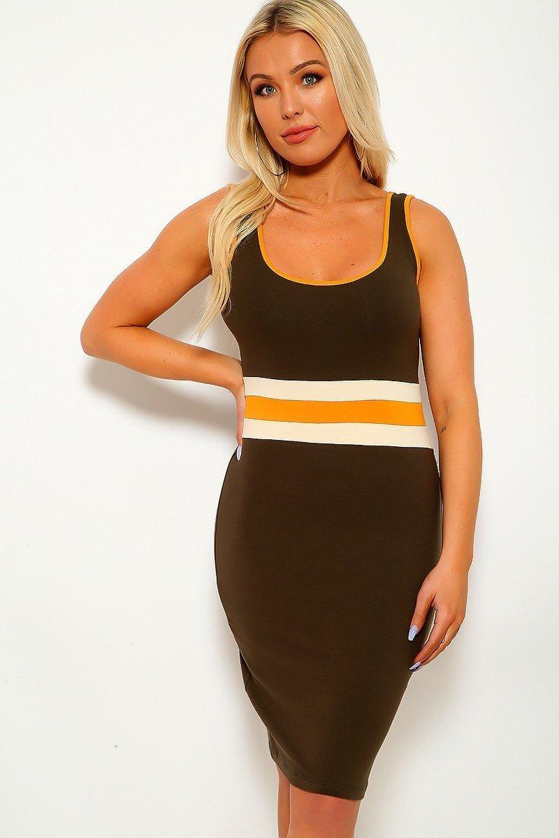 Solid, Color Block Contrast, Sleeveless, Round Neckline, Stripe Detail, And Stretchy.