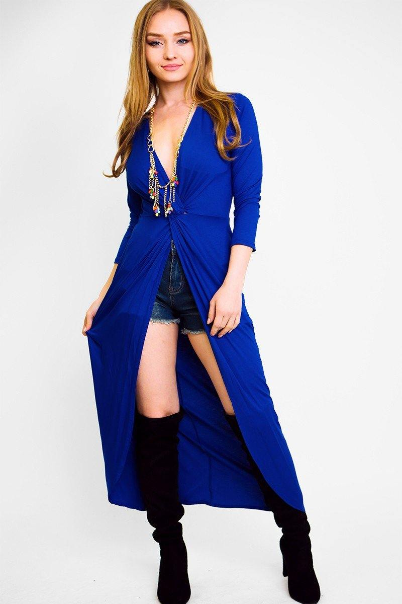Solid, Long Body Tunic Top In A Fitted Style, With 3/4 Sleeves, A V-Neck, Gathered Knot Detail And A Front Slash Slit