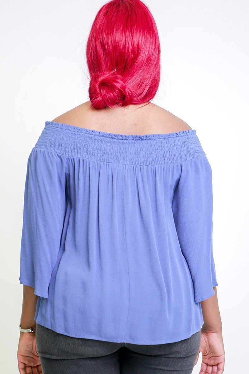 Solid, Off The Shoulders Top With Smocked Neckline, 3/4 Kimono Sleeves, Loose Fitting And A Front Tie Detail