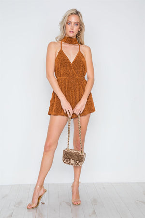 Mock Neck Cami Evening Romper