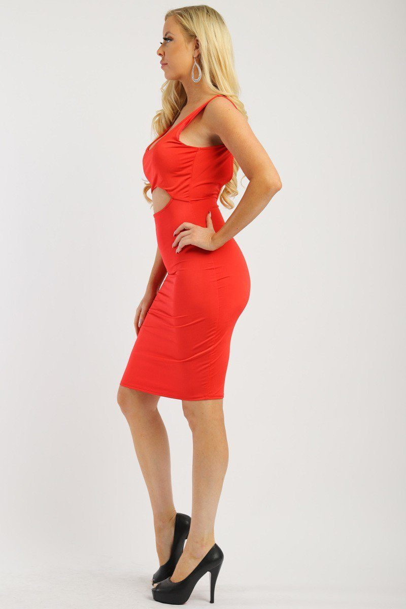 Solid Sleeveless Dress With Scoop Neck, Low Back And Front Cutout