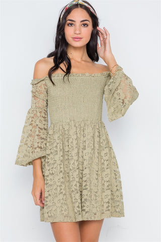 Women's Long Lace Sleeve V-Neck Dress