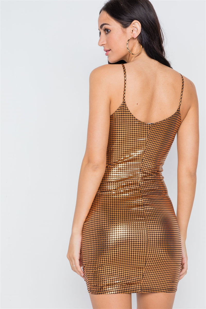 Metallic Bodycon Tulip Hem Cami Dress