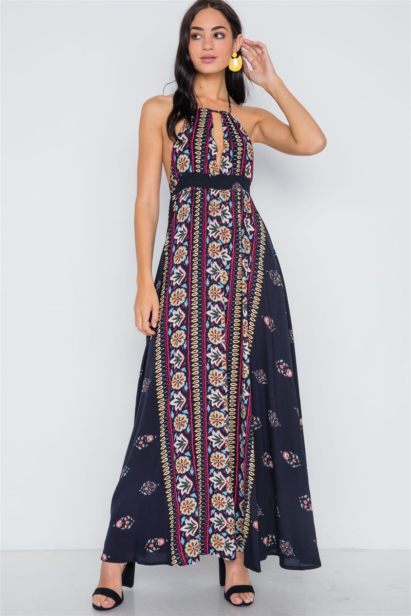 Navy Mustard Halter Neck Multi Print Maxi Dress