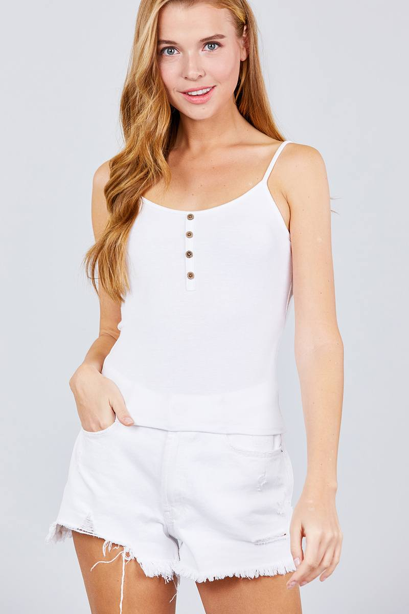 Round Neck W/button Down Rib Cami Top
