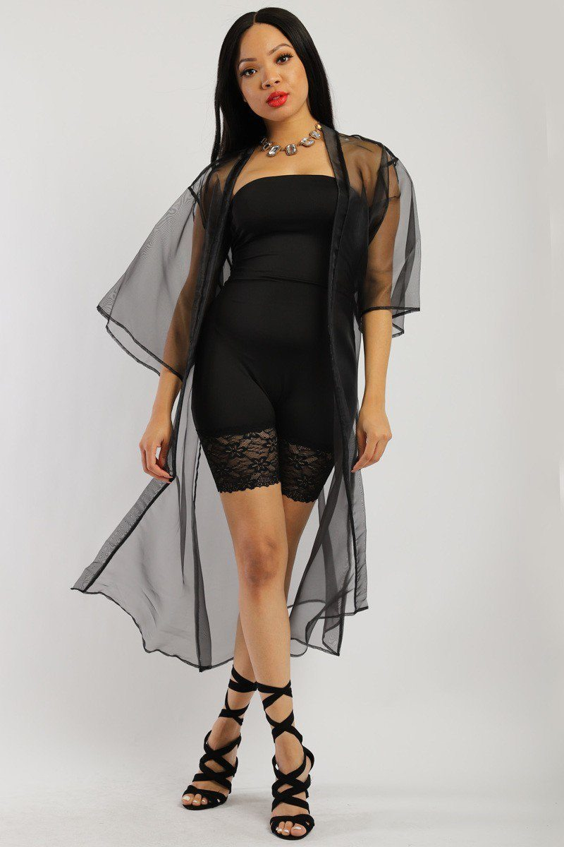 Solid, Organza Chiffon Cardigan With Open Front, Kimono