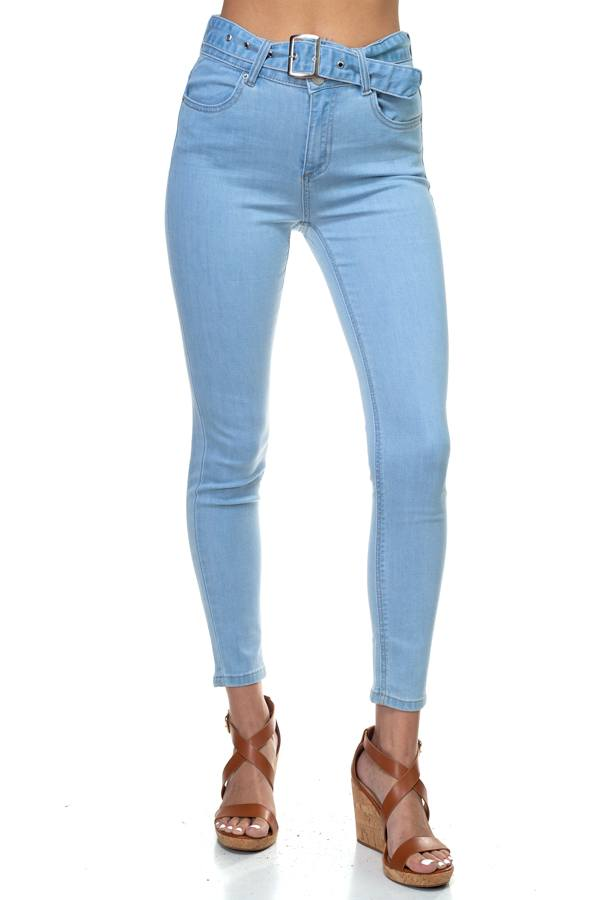 Denim High Rise Belted Pants, Light