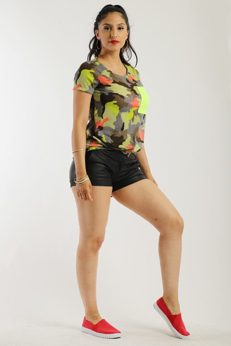 Camo Print, Short Sleeves Tank Top