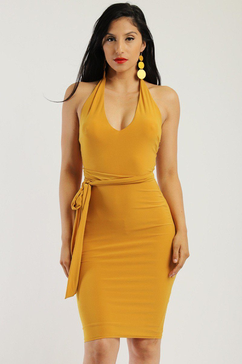 Solid Mustard , Stretchy Jersey Dress.