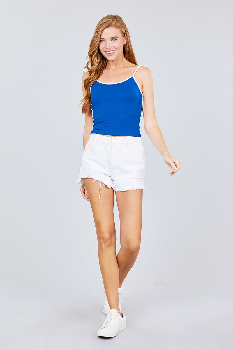 Double Round Neck Contrast Cami Top