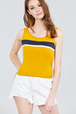 Halter Neck Cotton Spandex Rib Knit Top