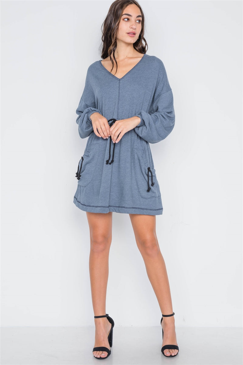 Denim blue knit long sleeve sweater dress