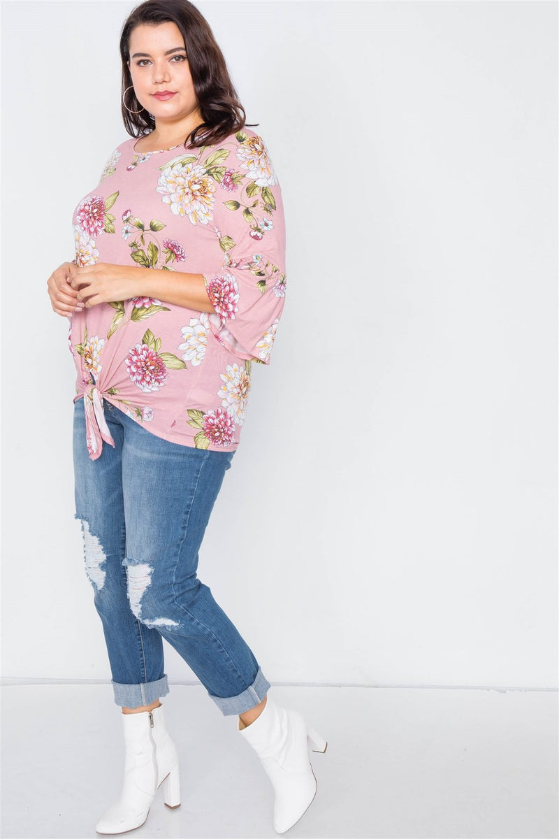 Plus Size Floral Print Front Knot High-low Top