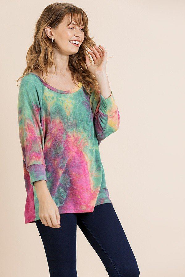 Tye Dye 3/4 Sleeve Round Neck Top