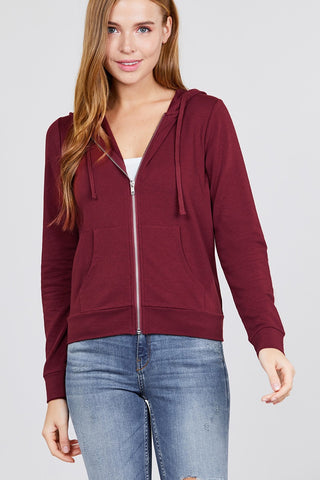 Knit Distressed Hooded Button-front Sweater