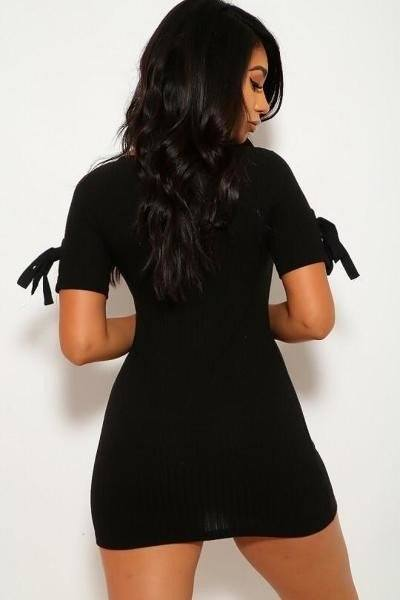 Solid, Wide Rib Knit, Scoop Neckline, Short Sleeves Dress