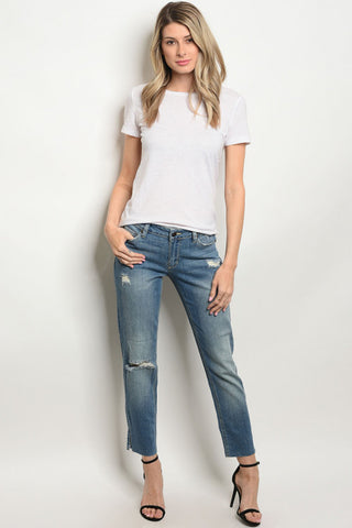 Stripe Contrast Side Jeans Trending Look!