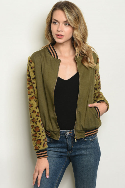 Leopard Kitty Olive Jacket MEOW