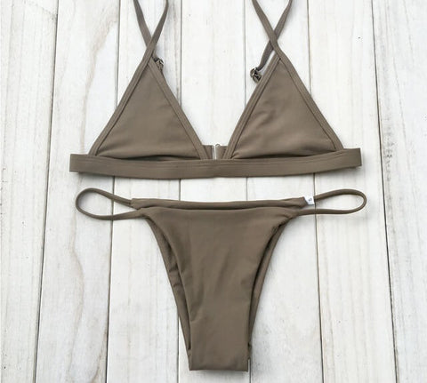 Caged Mock Neck Mesh Bikini Set