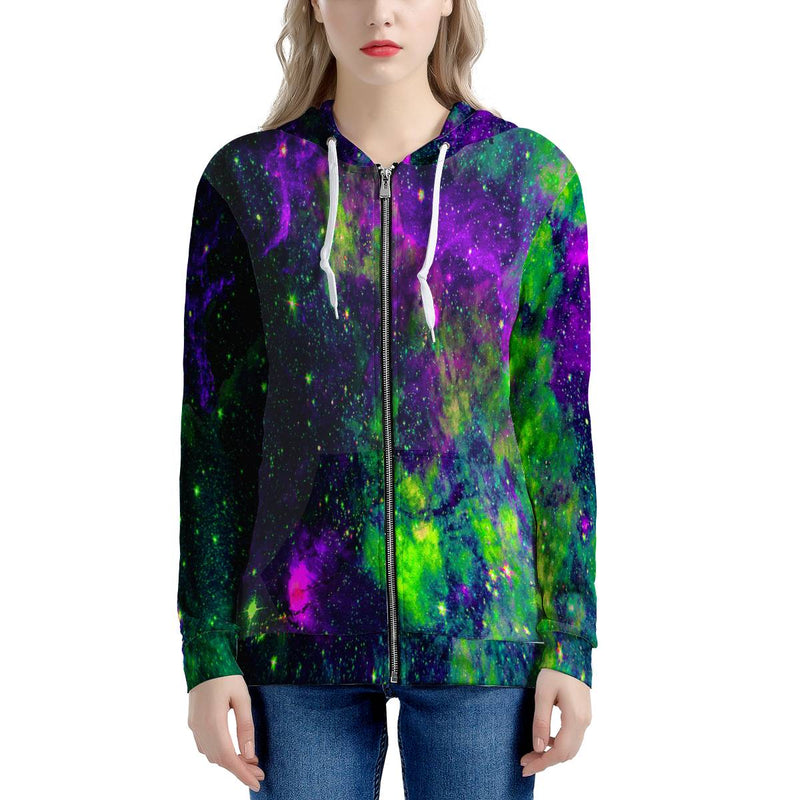 Green Galaxy - Women's All Over Print Zip Hoodie