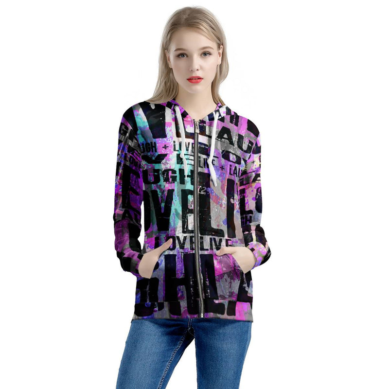 Secret of Life - Women All Over Print Zip Hoodie