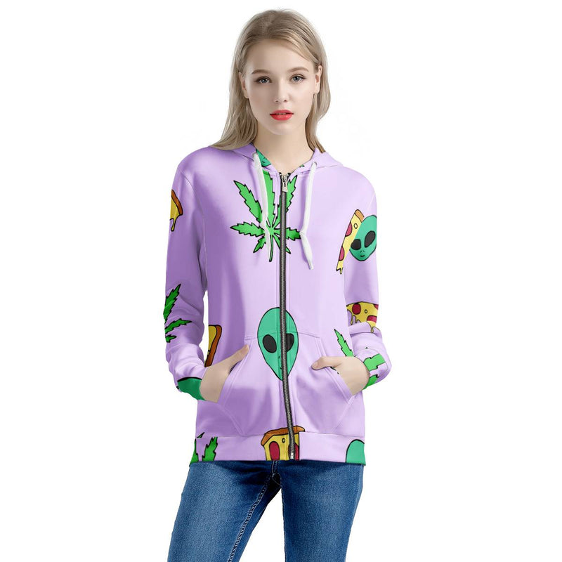 Alien Pizza Weed - Women's All Over Print Zip Hoodie
