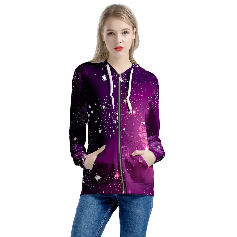 Cosmic Sparkle - Women's All Over Print Zip Hoodie