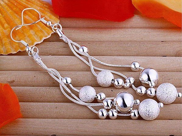 925 STERLING SILVER HANG BEADS EARRINGS
