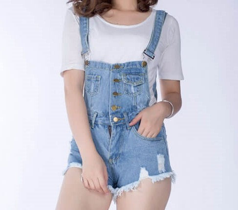 Suspender Denim Shorts Jumper Romper, All Sizes & Colors