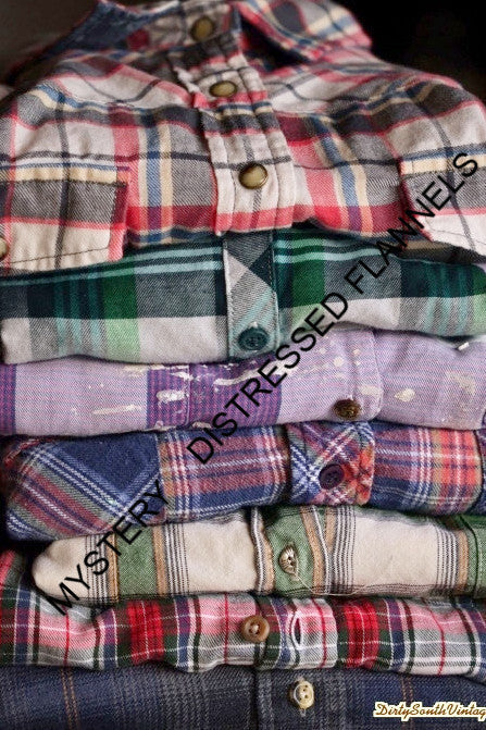 MYSTERY DISTRESSED FLANNELS 90'S Grunge Unisex Style – Pick Your Size