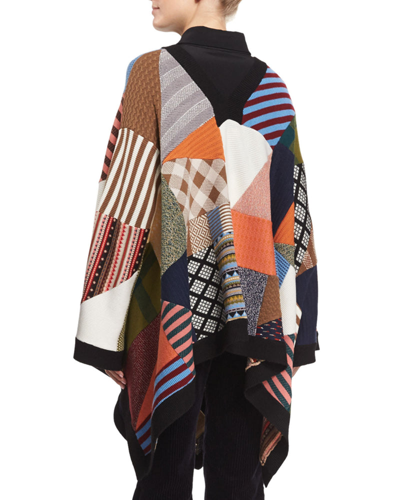 Patchwork Knit Poncho, Multi Colors