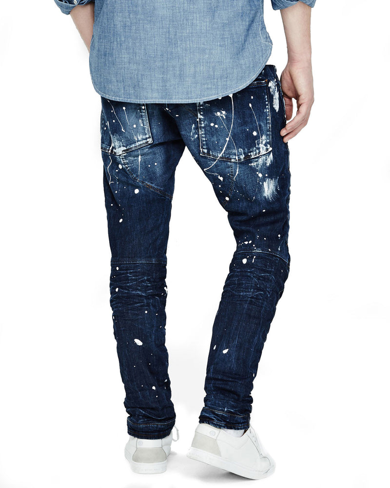 Paint-Splatter Denim Moto Jeans, Extreme Painted