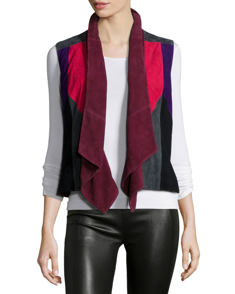 Patchwork Suede Vest, Multi Colors