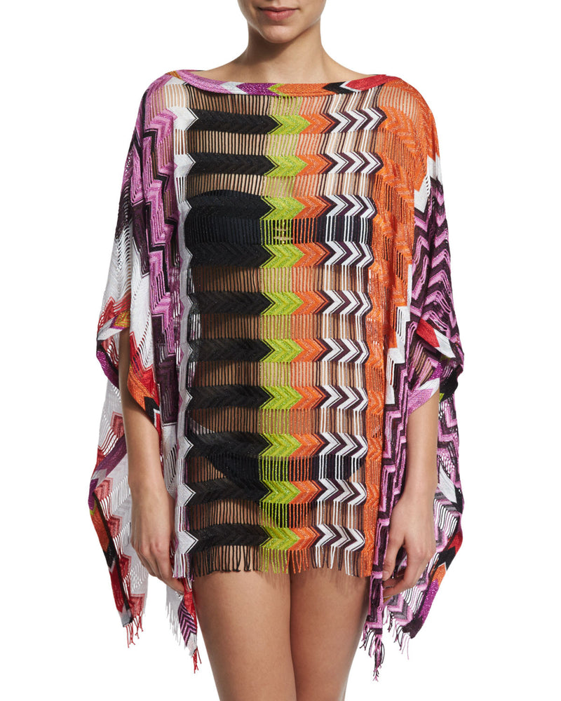Zigzag-Print Crocheted Caftan Coverup