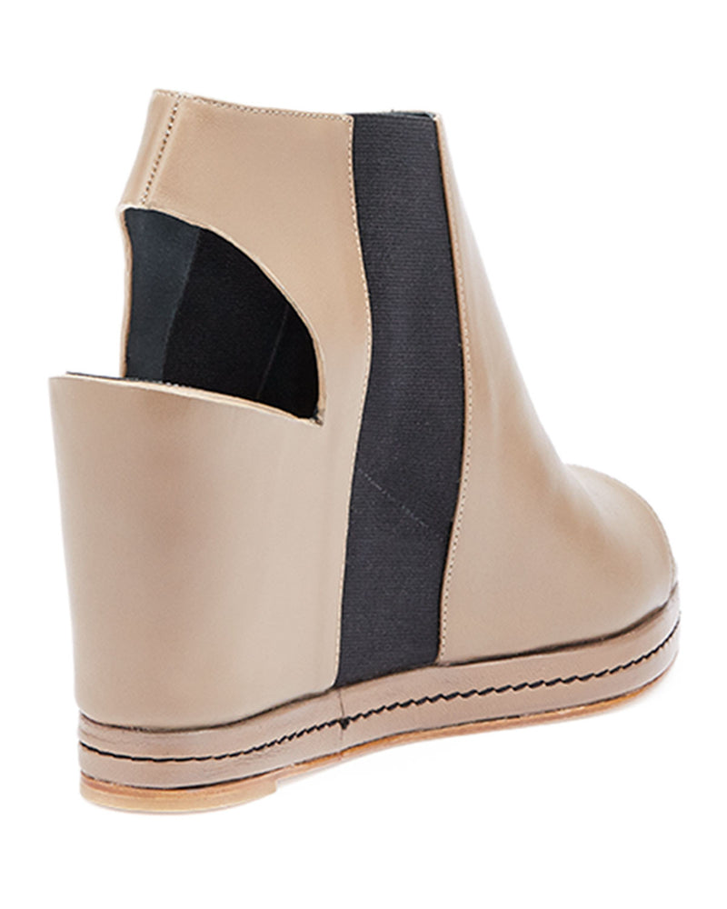 Open-Toe Leather Wedge Bootie, Beige