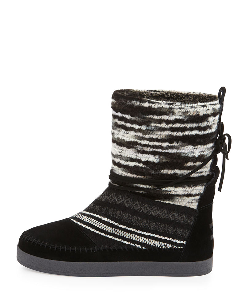 Nepal Striped Suede Boot, Black