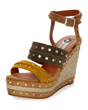 Tricolor Suede Espadrille Sandal, Yellow