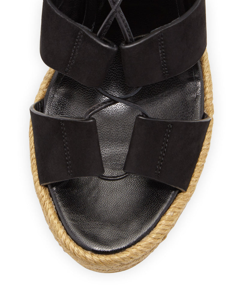 Suede Lace-Up Espadrille Sandal, Black/Multi